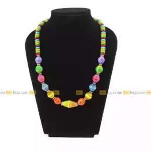Lajga Multi Color Recycled Paper And German Silver Beaded Necklace For Women