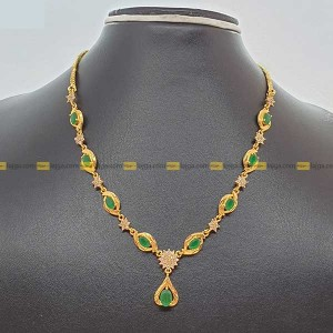 Lajga Emerald Swirl With American Diamond Necklace For Women