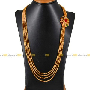 Navratna Four Line Golden Ball Necklace