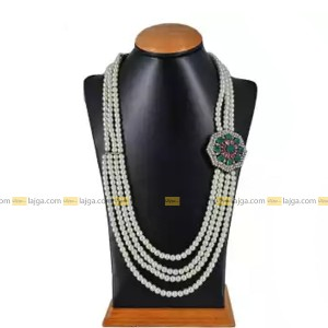 Ruby Emerald Stone Brooch Four Line Necklace For Women