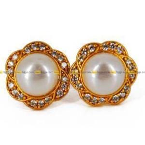 Lajga Big Pearl American Diamond Stud Earrings For Women