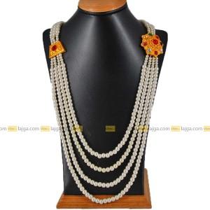 Navratna Brooch 4 Line Necklace For Women