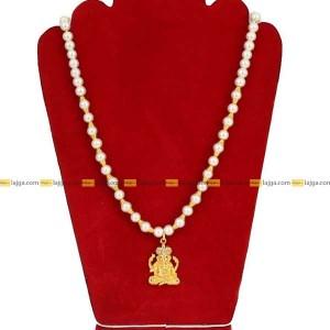 Lajga Ganesh Pendant Designed Pearl Goldenball Necklace For Women