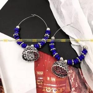 Lajga Silver Oxide/Beads Earring For Women Handmade item Materials: Aluminum Trendy/stylish