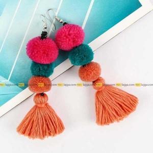 Lajga Three Layer Pom Pom Tassel Earrings For Women