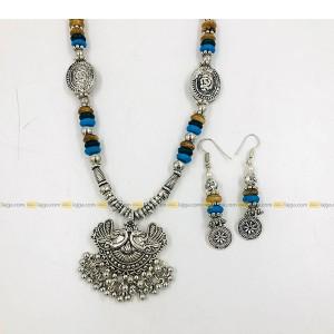 Lajga Oxidised Silver Jewelry With Blue Beads Set, Stylish for Women