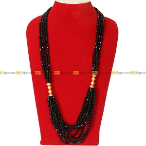 Lajga Black Layered Micro Gold Plated Potey Necklace For Women