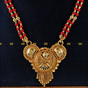 Lajga Wheel Gold Toned Pote Mangalsutra Two Line Necklace For Women