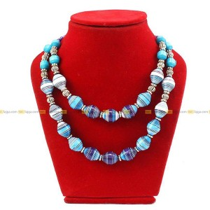 Lajga Blue Recycled Paper And German Silver Beads Necklace For Women