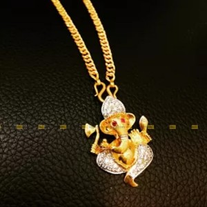 Ganesh Stoned Locket With Chain Necklace For Women