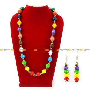Lajga Multi Color Recycled Paper And German Silver Beads Necklace With Earrings For Women