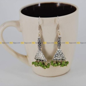Lajga Delta With German Silver Beads Drop Earring For Women