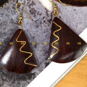 Lajga Brown Triangular Wooden Fish Hook Drop Earrings For Women