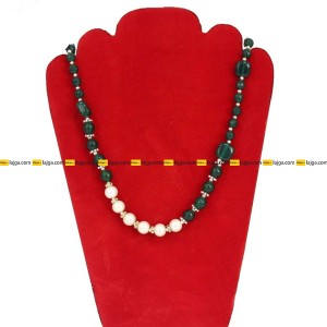 Lajga Green/White Z Stone And Pearl Designed German Silver Necklace For Women