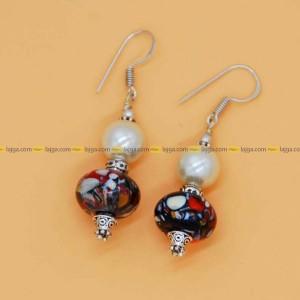 Lajga Bead/Pearl With German Silver Drop Earring For Women