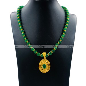Lajga Panna Stone Necklace With Locket For Women