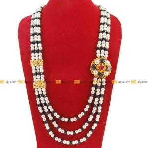 Lajga Mix Crystal Navratna Brooch Three Line Necklace For Women