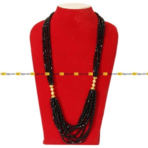 Black Layered Micro Gold Plated Potey Necklace For Women