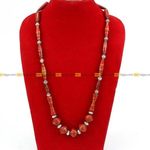 Lajga Maroon Recycled Paper And German Silver Beaded Necklace For Women