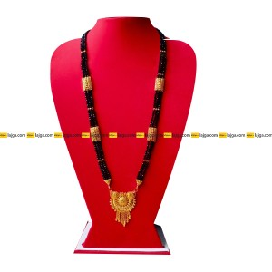 Lajga Ankhi Gold Toned Mangalsutra Three Line Necklace For Women