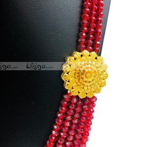 Red Crystal Necklace With Glod Plated Broach For Women