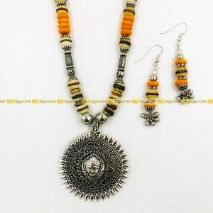 Lajga Oxidised Silver Jewelry With Mixed Beads Set, Stylish for Women
