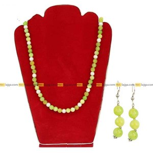 Lajga Parrot Green Beads Designed Necklace And Earring Set For Women