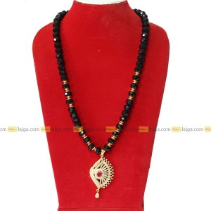 Lajga Black/Golden Beaded Necklace With Stoned Pendant For Women
