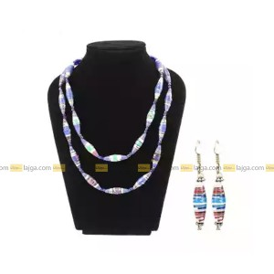 Blue Recycled Paper And German Silver Beads Necklace