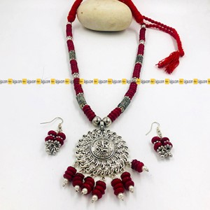 Lajga Oxidised Silver Jewelry With Green Beads Set, Stylish for Women