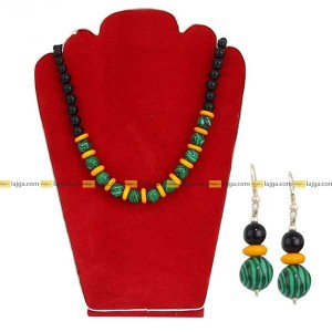 Lajga Green/Black Stones Beaded Necklace And Earring Set For Women