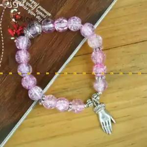 Pink Crystals Beaded Palm Designed Stretchable Bracelet For Women